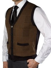 100% Cotton Houndstooth Button Front Sweater Vest