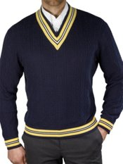 100% Cotton Cable V-Neck Pullover Sweater