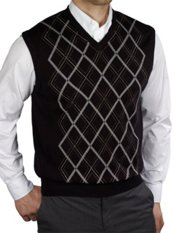 100% Cotton Argyle V-Neck Pullover Sweater Vest