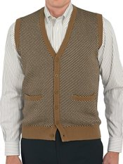 100% Cotton Birdseye Button Front Cardigan Sweater Vest