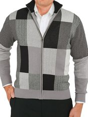 100% Cotton Patchwork Full Zip Sweater