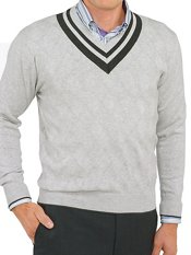 100% Cotton Diamond Pattern V-Neck Pullover Sweater