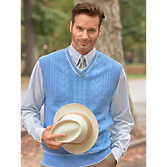 Men's Vintage Inspired Vests Light Blue Cotton Cable V-Neck Pullover Vest $75.00 AT vintagedancer.com