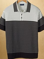 Cotton Short Sleeve Stripe Polo Collar Sweater
