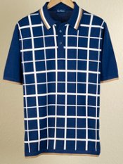 Cotton Grid Short Sleeve Polo Collar Sweater