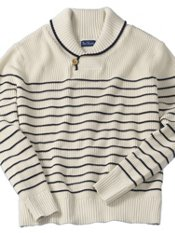 Cotton Stripe Shawl Collar Sweater