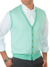 Linen & Cotton Herringbone Button Front Sweater Vest