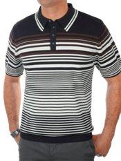 100% Cotton Stripe Polo Collar Short Sleeve Sweater