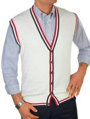 100% Cotton Cable Button Front Sweater Vest
