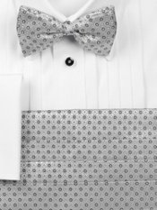 Textured Italian Silk Bow Tie & Cummerbund Set