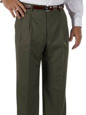 Cuffed 100% Wool Gabardine Pleated Front Pants