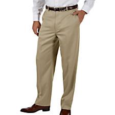 Microfiber Comfort-Waist Flat Front Pants