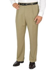 Comfort-Luxe Italian Wool Twill Pleated Front Stripe Pants