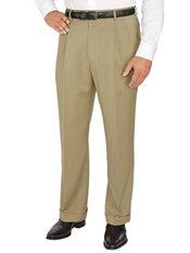 Comfort-Luxe Italian Wool Twill Pleated Front Stripe Pants