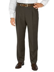 100% Wool Gabardine Pleated Front Trim Fit Pants