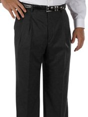 Hemmed 100% Wool Gabardine Pleated Front Trim Fit Pants