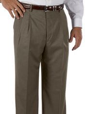 Cuffed 100% Wool Gabardine Pleated Front Trim Fit Pants