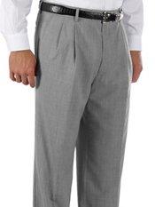 Cuffed 100% Wool Gabardine Pleated Front Trim Fit Pants