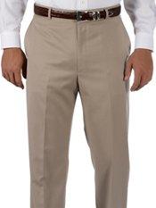 Hemmed 100% Wool Gabardine Flat Front Trim Fit Pants