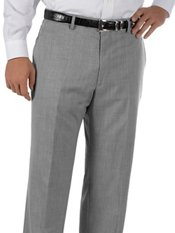 Hemmed 100% Wool Gabardine Flat Front Trim Fit Pants