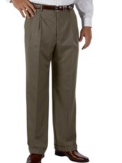 100% Wool Gabardine Wrinkle & Stain Resistant Pleated Front Pant