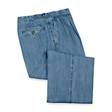 Cotton Denim Pleated D-Ring Pants