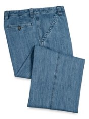 Cotton Denim Flat Front Pants