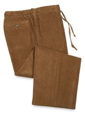 Cotton Corduroy Flat Front Drawstring Pants