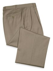 100% Wool Herringbone Pleated Pants