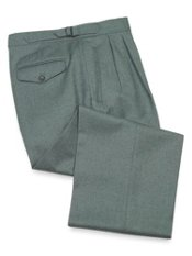 100% Italian Wool Flannel Pleated D-Ring Pants