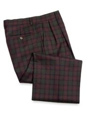 Wool Tartan Plaid Pleated Front Pants