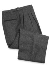 Wool D-Ring Waist Pleated Front Pants