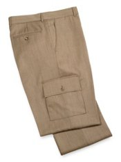 Wool Herringbone Cargo Pocket Flat Front Pants