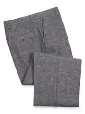 Cotton Denim Flat Front Pants