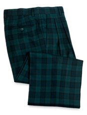 100% Wool Tartan Plaid Pleated Pants