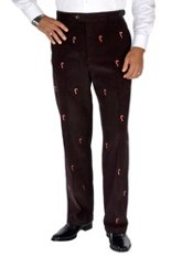 100% Cotton Corduroy Embroidered D-ring Flat Front Pants