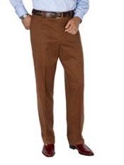 100% Brushed Cotton Twill Flannel Lined Flat Front Pants