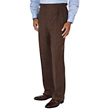 100% Wool Donegal D-ring Box Pleat Pants