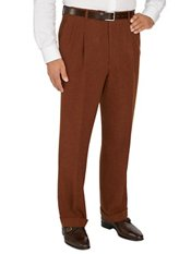 Suede Trimmed Wool Flannel Pleated Pants