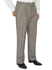 100% Wool Glen Plaid D-ring Box Pleated Pants
