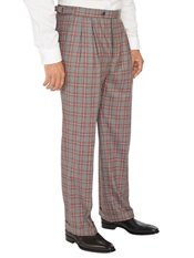 100% Wool Windowpane D-ring Box Pleated Pants