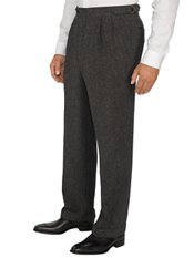 100% Wool Donegal D-ring Pleated Pants