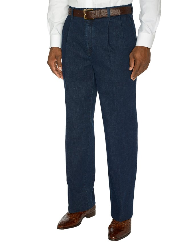 Cotton Denim Pleated Pants | Paul Fredrick