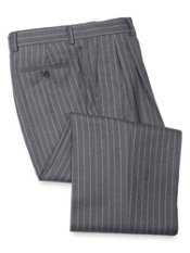 Wool Flannel Striped Pleated Pant