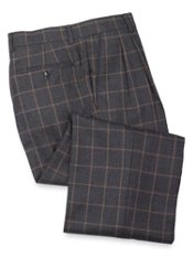Wool Flannel Windowpane Pleated Front Pants