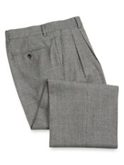 Wool Flannel Glen Plaid Pleated Front Pants