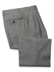 Wool Flannel Houndstooth Pleated Front Pant