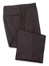 Wool Flannel Striped Flat Front Pant