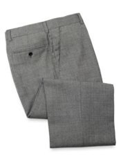 Wool Flannel Glen Plaid Flat Front Pant