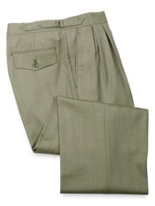100% Wool D-Ring Waist Herringbone Pleated Front Pant